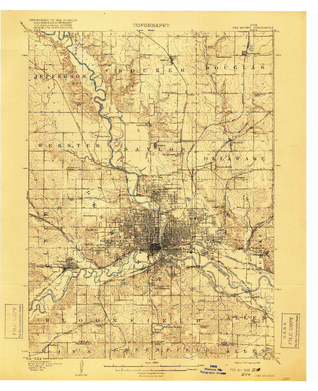 USGS 1:62500-SCALE QUADRANGLE FOR DES MOINES, IA 1907