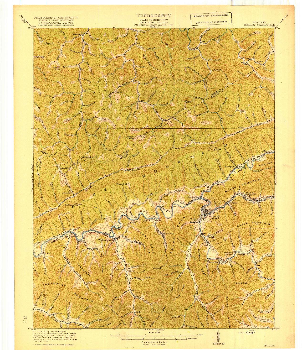 USGS 1:62500-SCALE QUADRANGLE FOR HARLAN, KY 1919