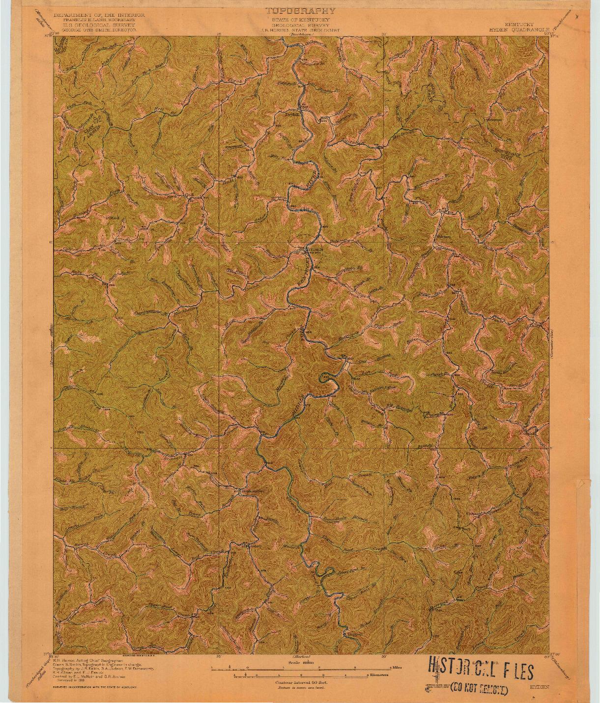 USGS 1:62500-SCALE QUADRANGLE FOR HYDEN, KY 1919