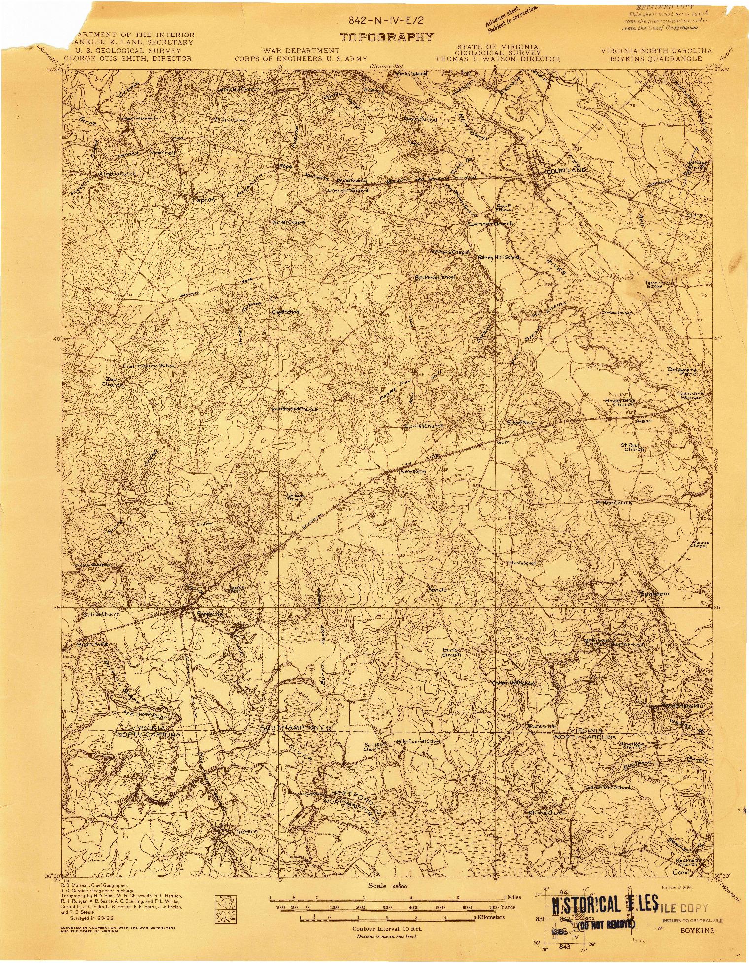 USGS 1:48000-SCALE QUADRANGLE FOR BOYKINS, VA 1919