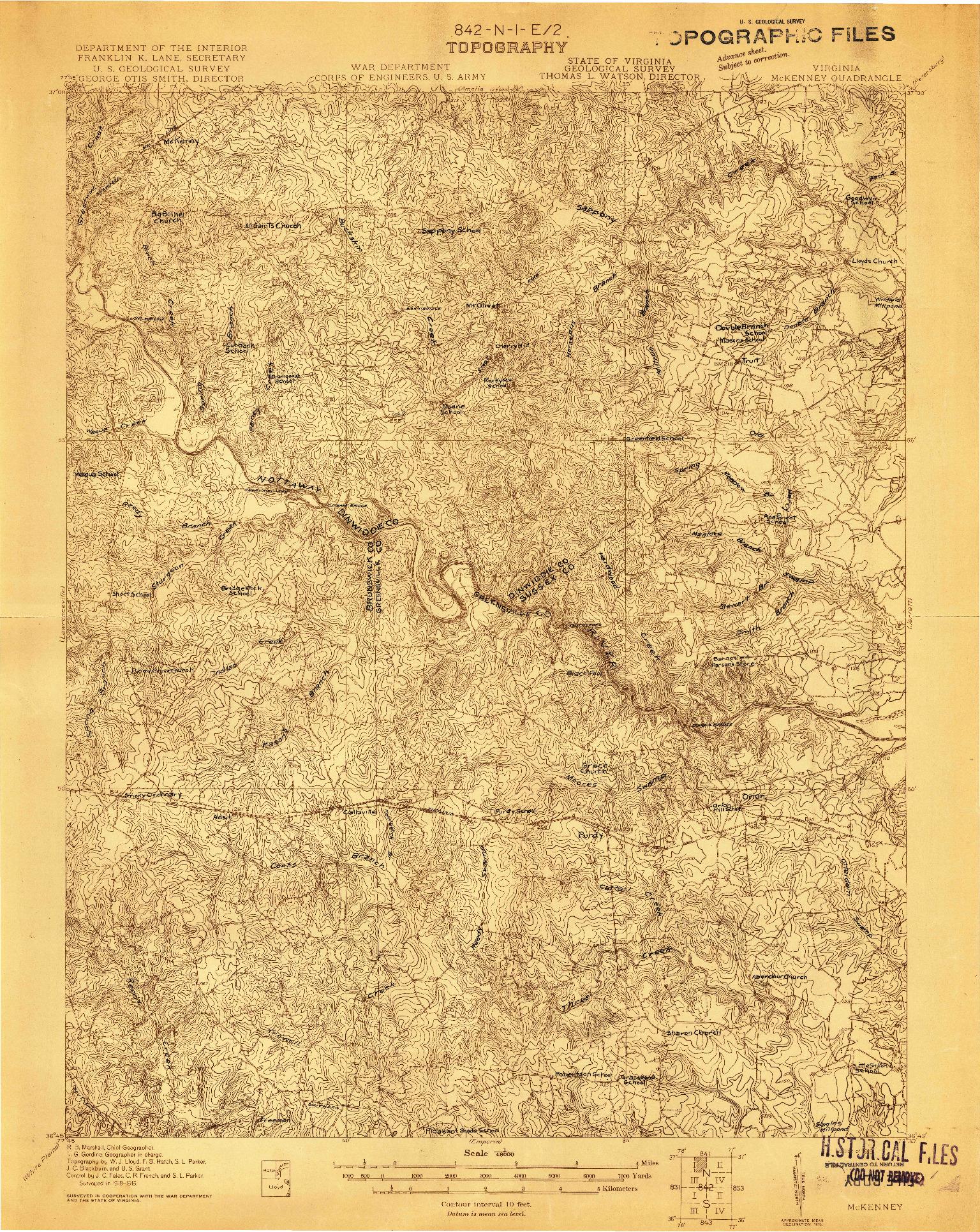 USGS 1:48000-SCALE QUADRANGLE FOR MC KENNEY, VA 1919