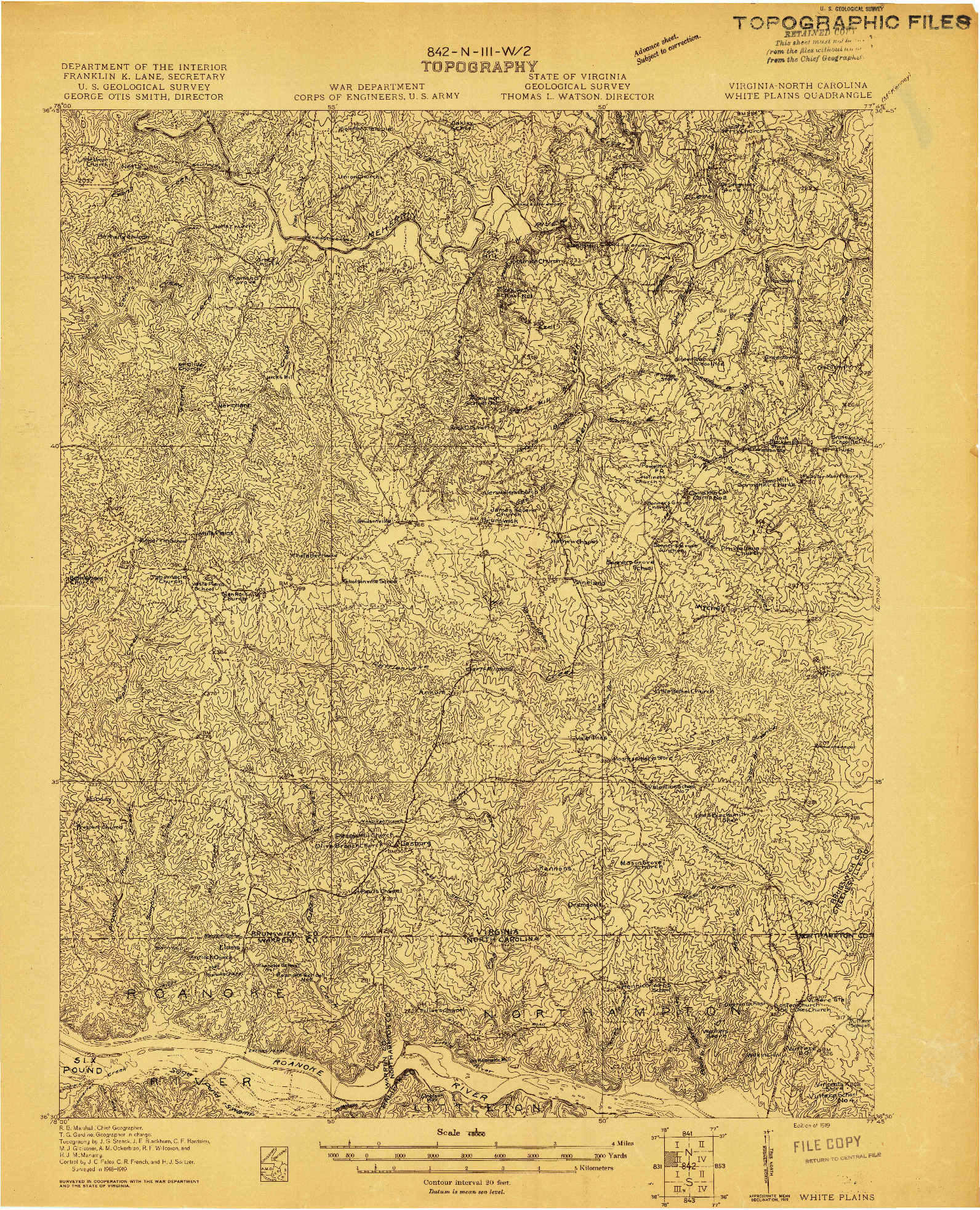 USGS 1:48000-SCALE QUADRANGLE FOR WHITE PLAINS, VA 1919