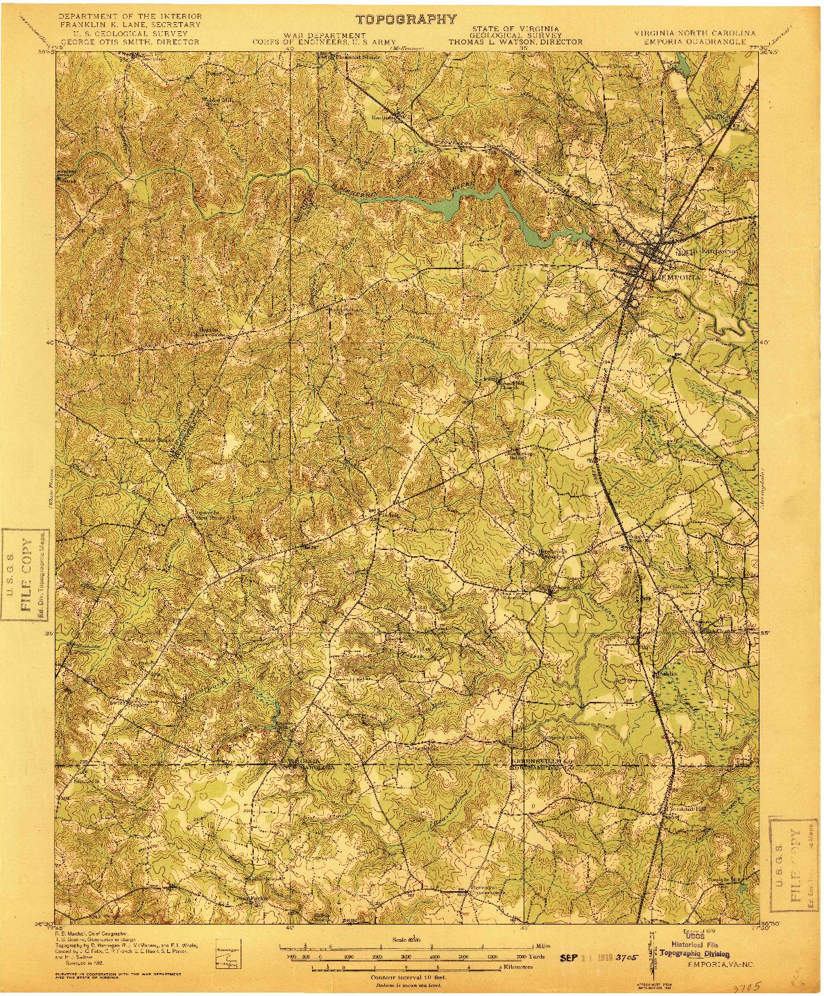USGS 1:62500-SCALE QUADRANGLE FOR EMPORIA, VA 1919
