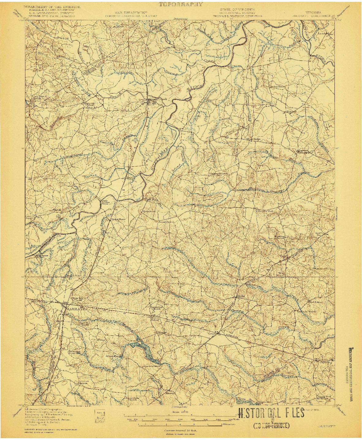 USGS 1:62500-SCALE QUADRANGLE FOR JARRATT, VA 1919