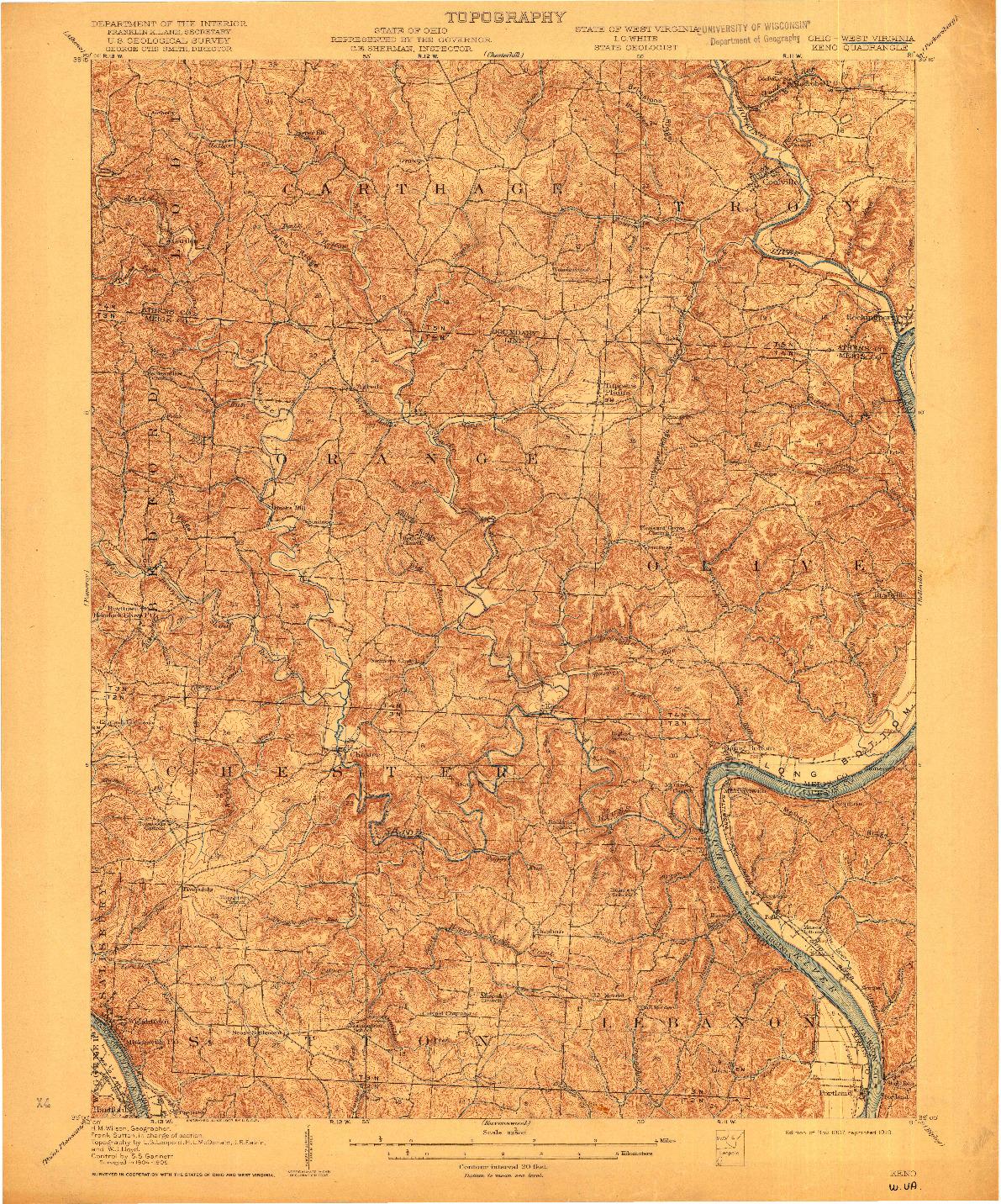 USGS 1:62500-SCALE QUADRANGLE FOR KENO, OH 1907