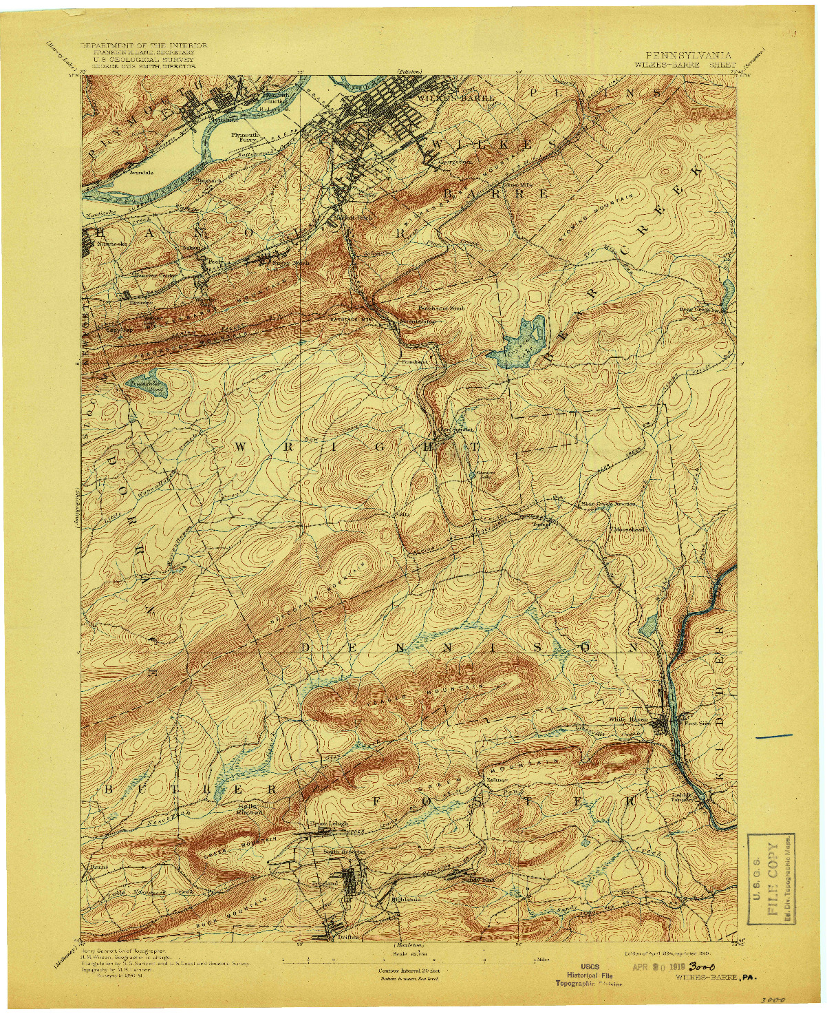 USGS 1:62500-SCALE QUADRANGLE FOR WILKES-BARRE, PA 1894