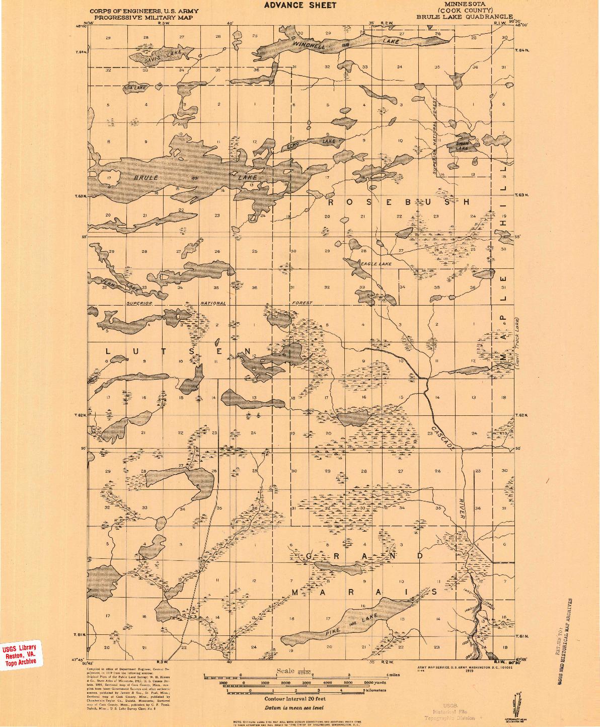 USGS 1:62500-SCALE QUADRANGLE FOR BRULE LAKE, MN 1919