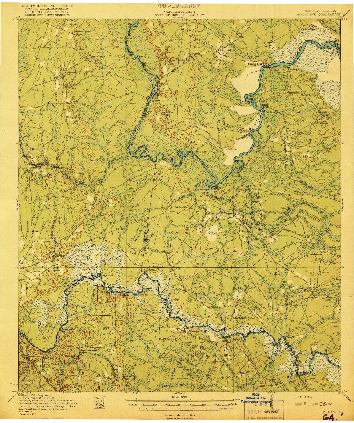 USGS 1:62500-SCALE QUADRANGLE FOR BOULOGNE, GA 1919