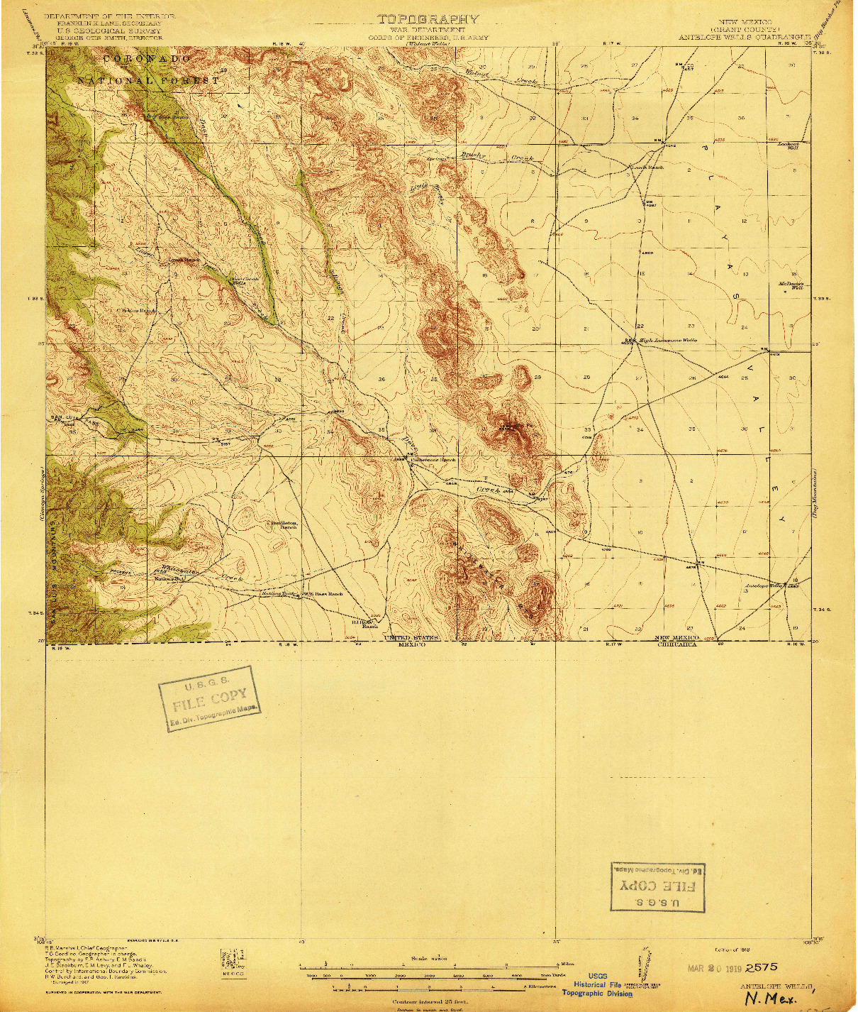 USGS 1:62500-SCALE QUADRANGLE FOR ANTELOPE WELLS, NM 1919