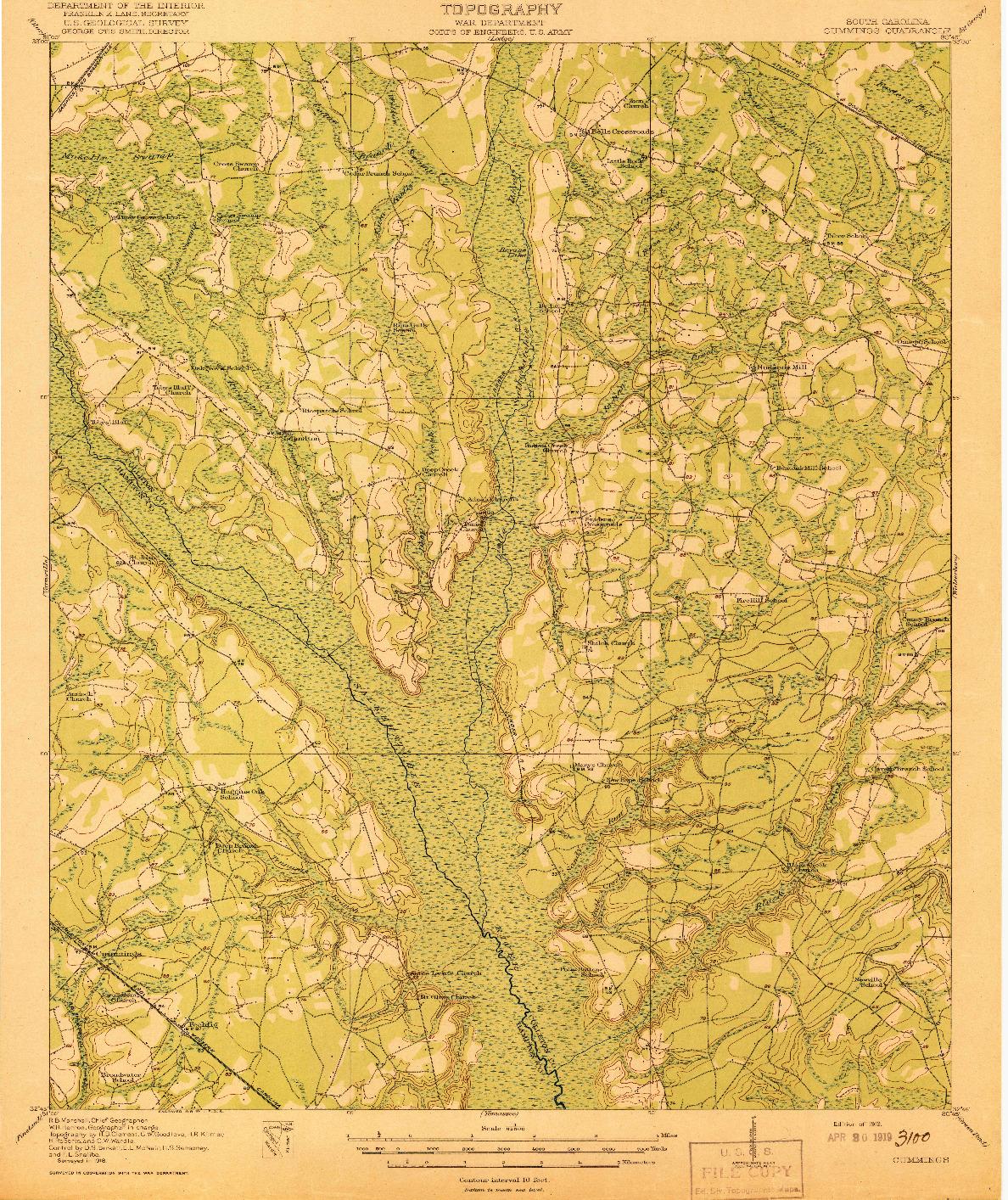 USGS 1:62500-SCALE QUADRANGLE FOR CUMMINGS, SC 1919