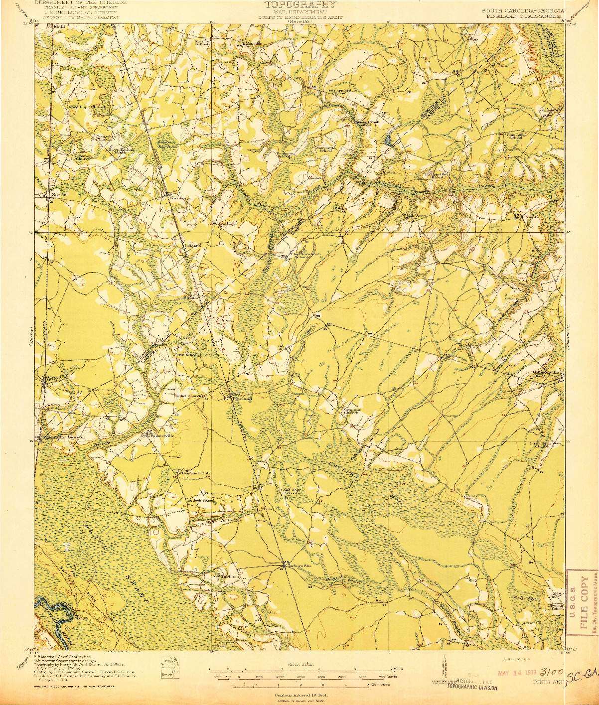 USGS 1:62500-SCALE QUADRANGLE FOR PINELAND, SC 1919