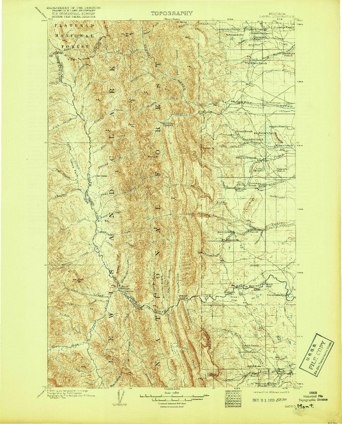 USGS 1:125000-SCALE QUADRANGLE FOR SAYPO, MT 1903