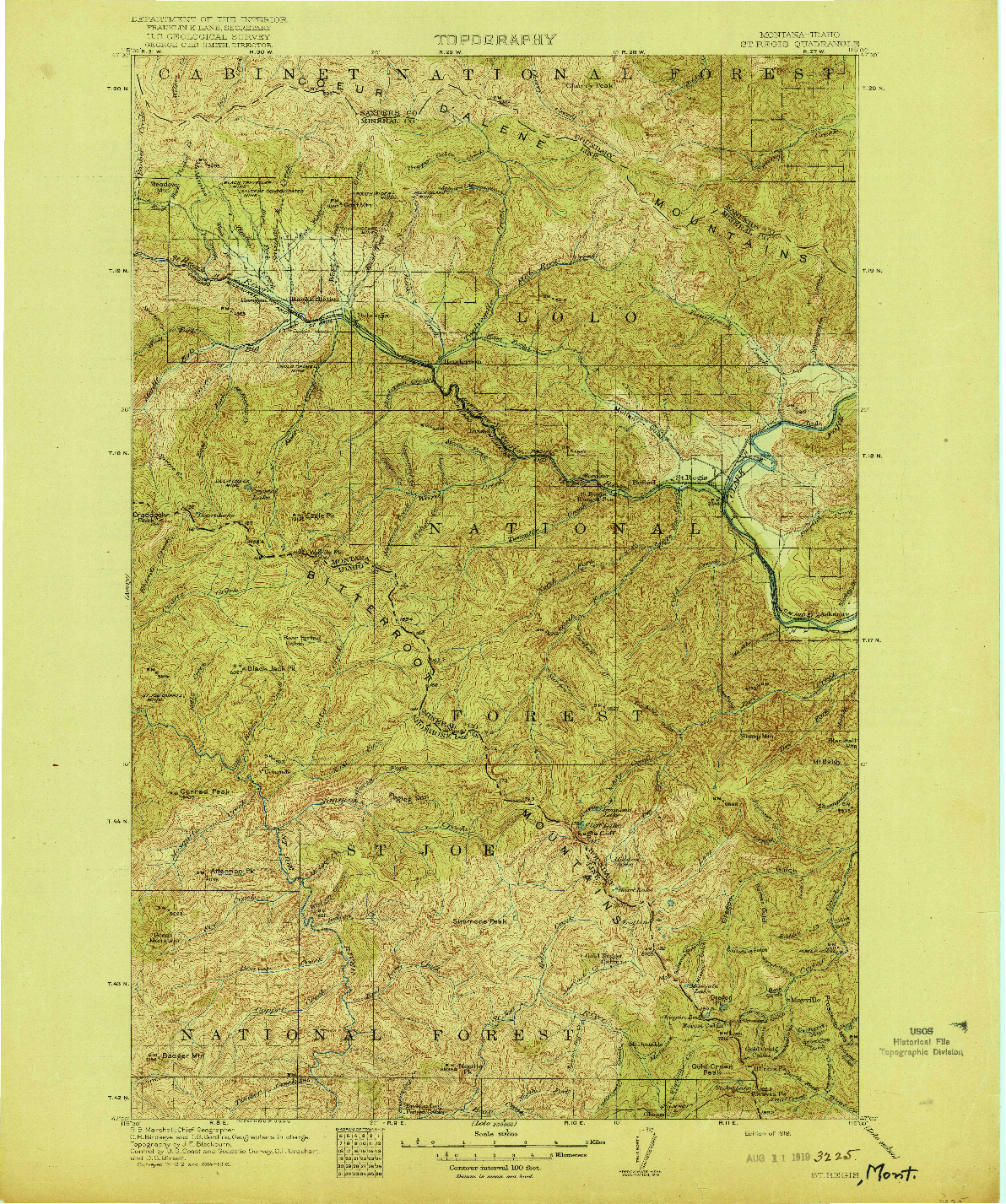 USGS 1:125000-SCALE QUADRANGLE FOR ST. REGIS, MT 1919