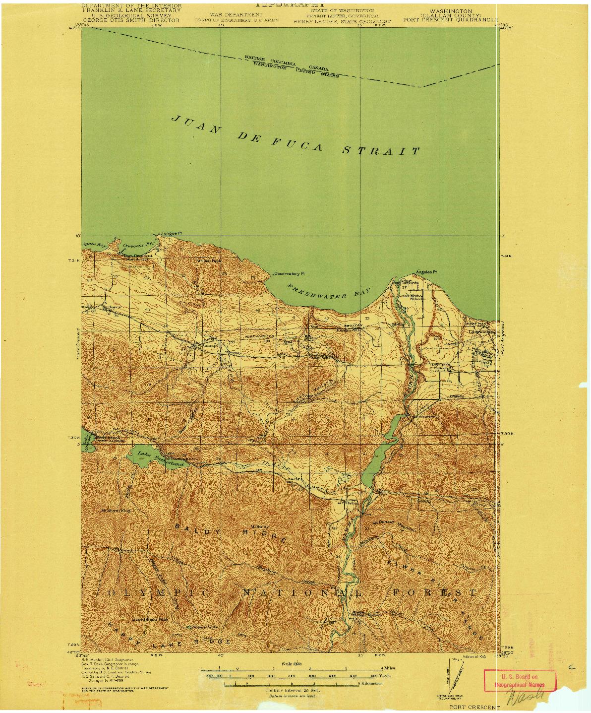 USGS 1:62500-SCALE QUADRANGLE FOR PORT CRESCENT, WA 1919
