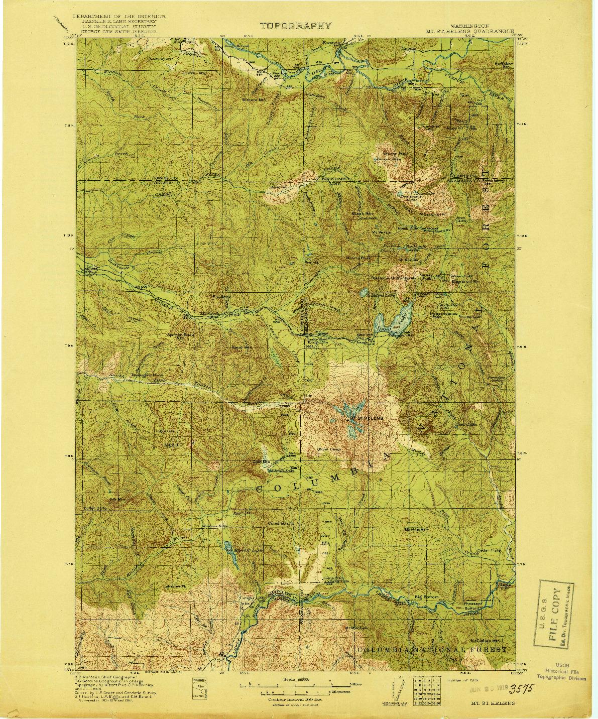USGS 1:125000-SCALE QUADRANGLE FOR MT ST HELENS, WA 1919