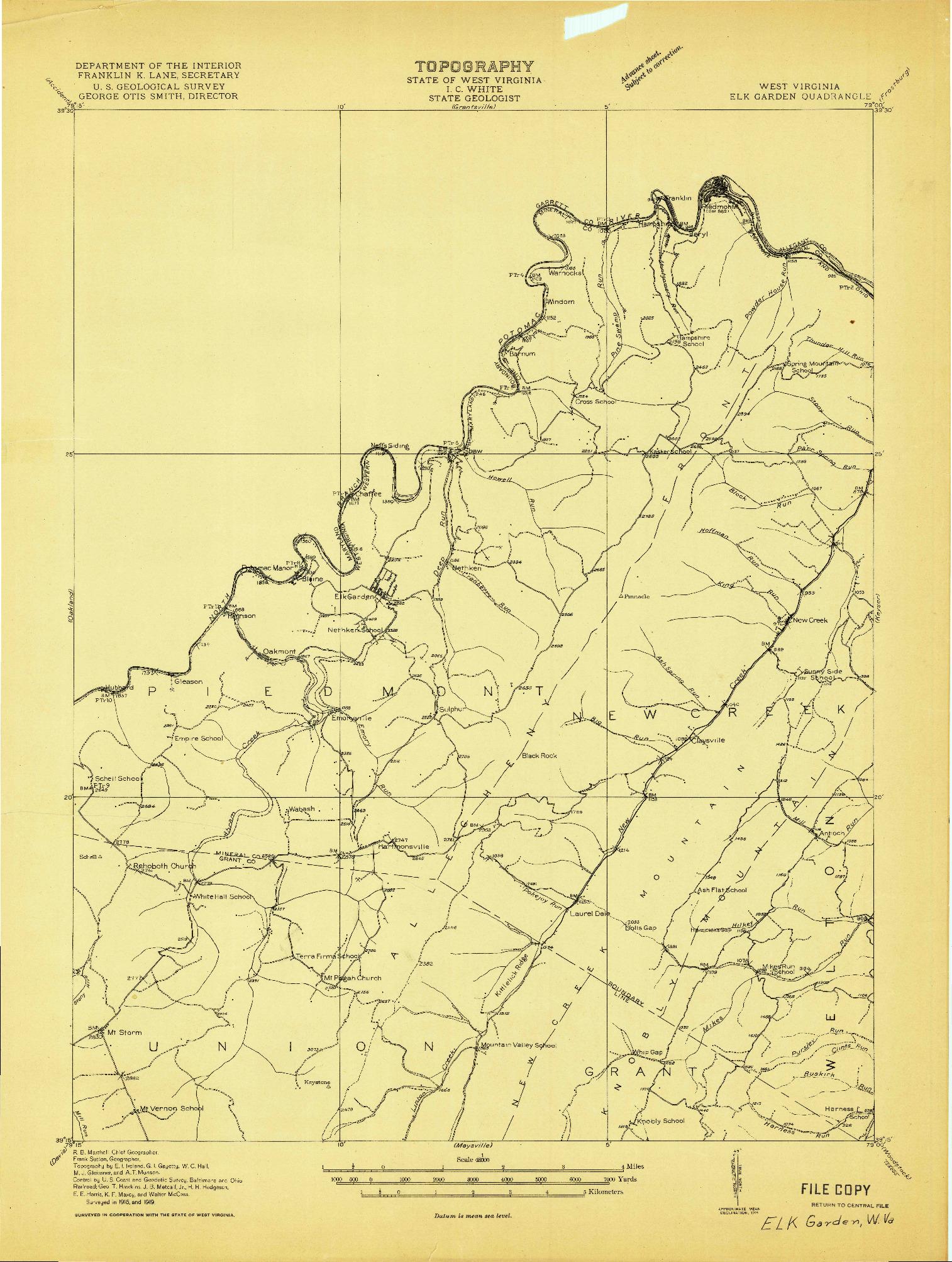 USGS 1:48000-SCALE QUADRANGLE FOR ELK GARDEN, WV 1919