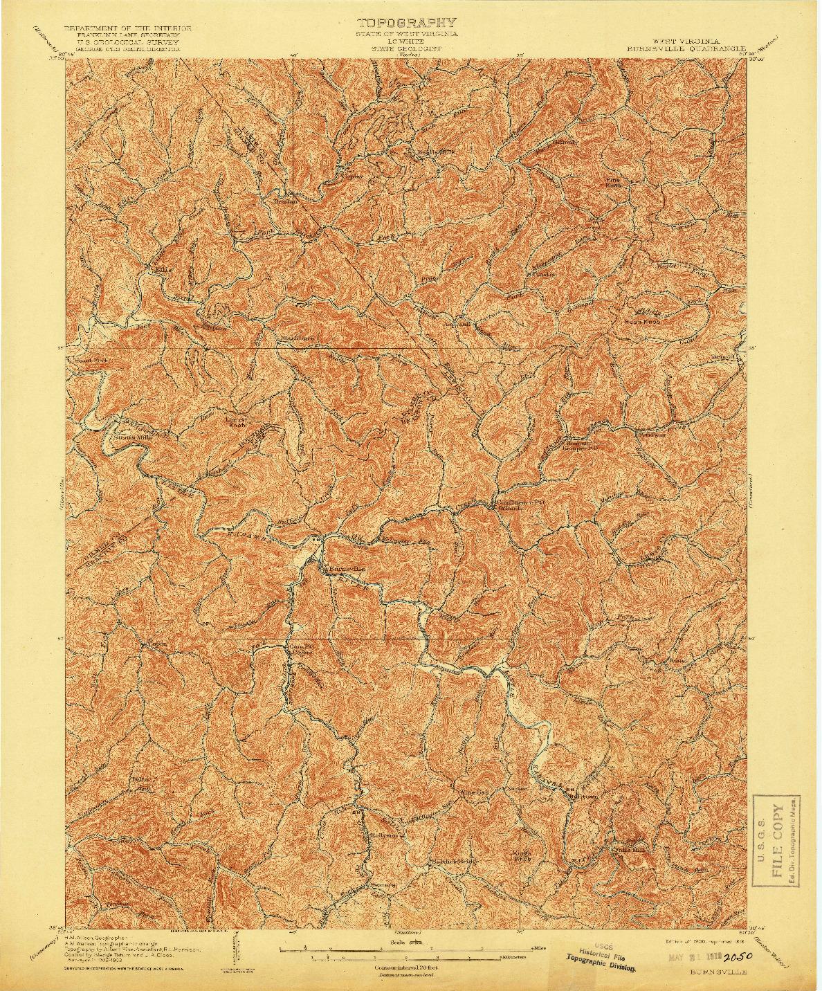 USGS 1:62500-SCALE QUADRANGLE FOR BURNSVILLE, WV 1906
