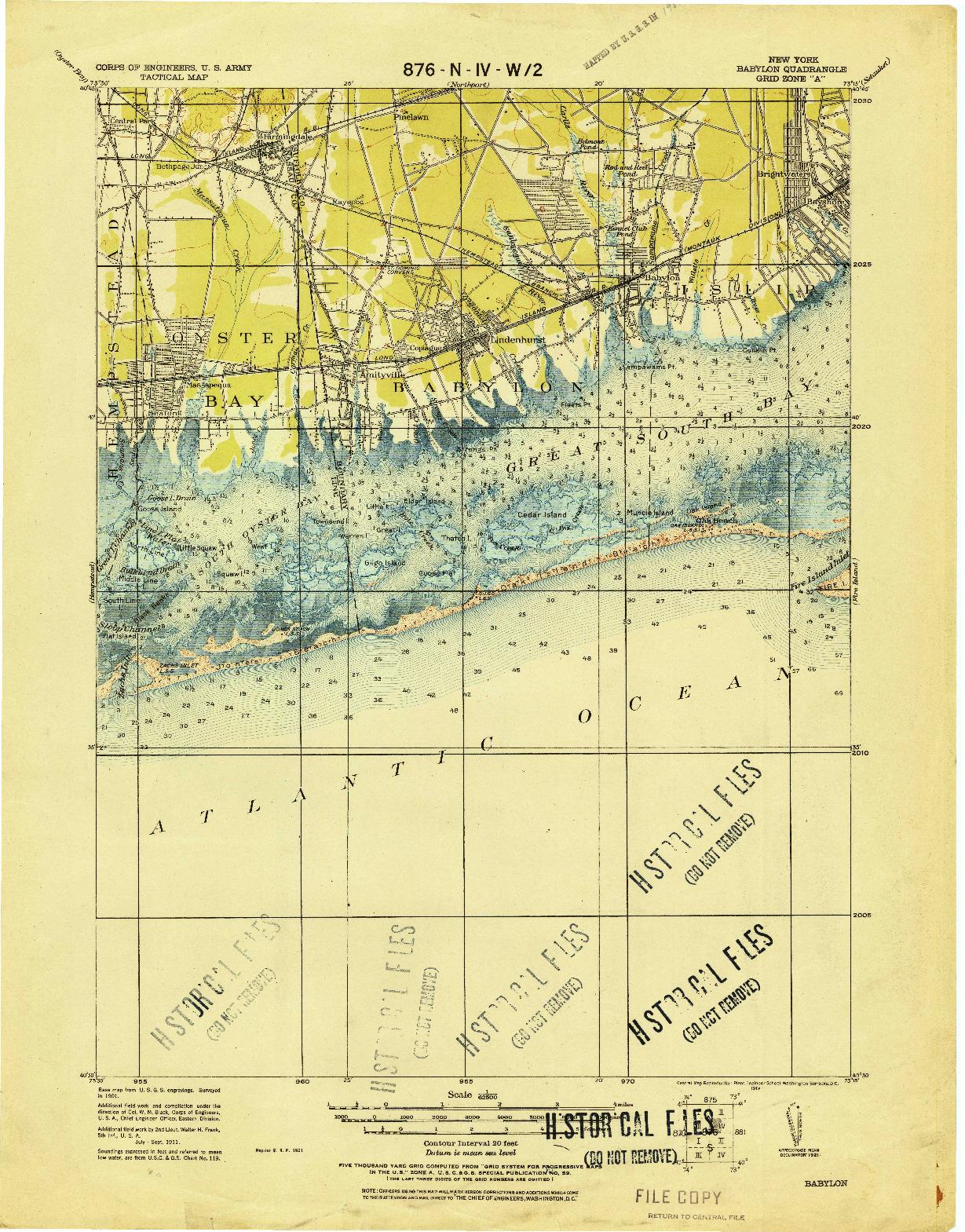 USGS 1:62500-SCALE QUADRANGLE FOR BABYLON, NY 1919