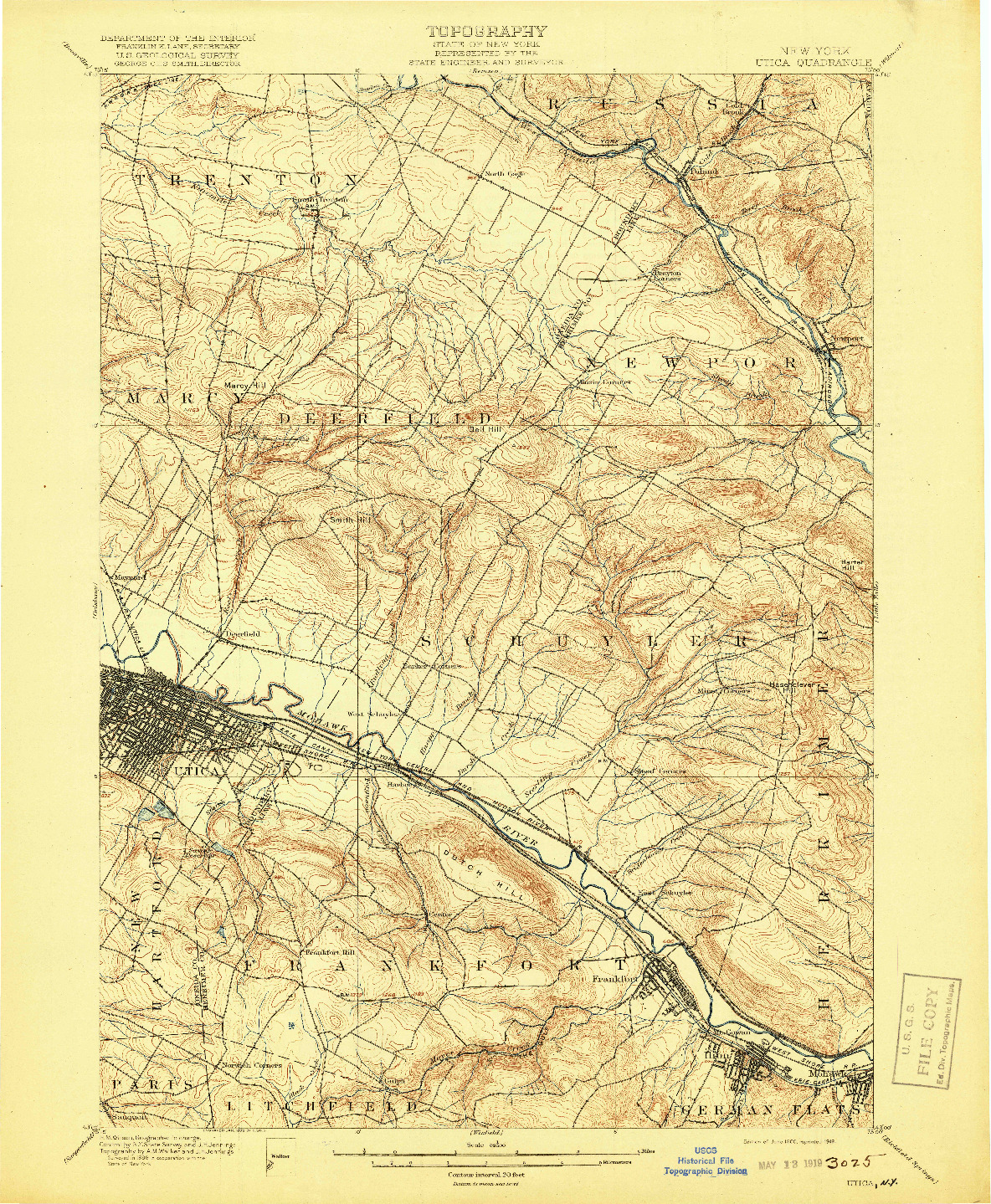 USGS 1:62500-SCALE QUADRANGLE FOR UTICA, NY 1900