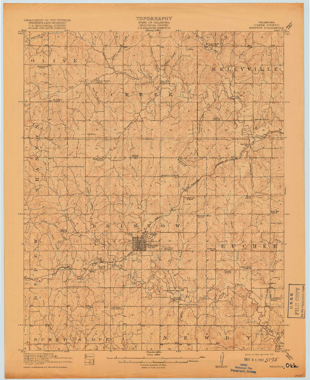 USGS 1:62500-SCALE QUADRANGLE FOR BRISTOW, OK 1916