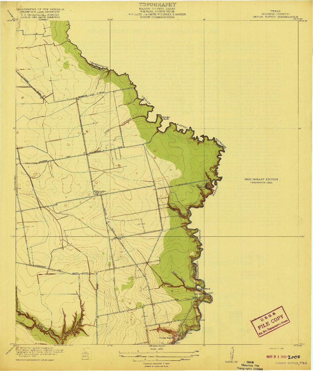 USGS 1:31680-SCALE QUADRANGLE FOR CEDAR BAYOU, TX 1919