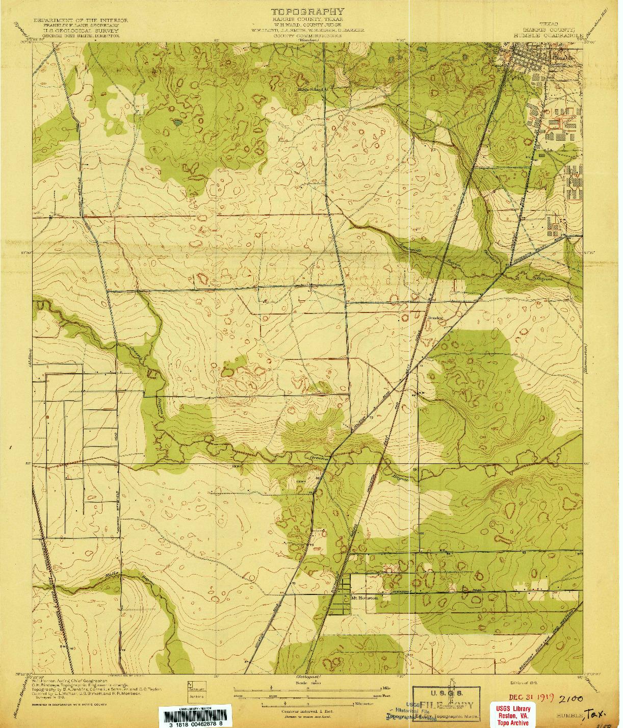 USGS 1:31680-SCALE QUADRANGLE FOR HUMBLE, TX 1919