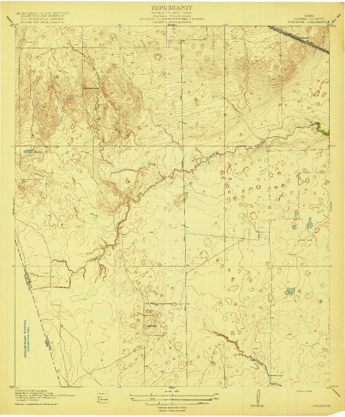 USGS 1:31680-SCALE QUADRANGLE FOR SWANSON, TX 1919