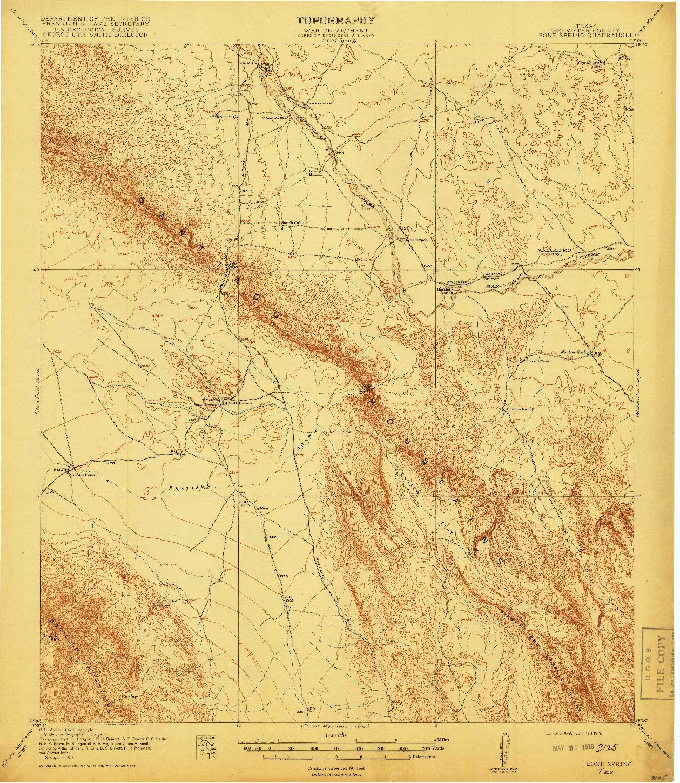 USGS 1:62500-SCALE QUADRANGLE FOR BONE SPRING, TX 1918