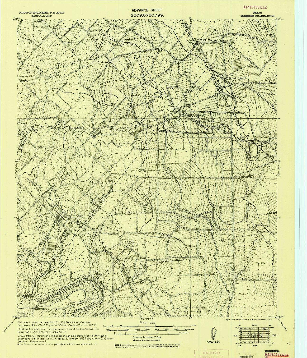 USGS 1:62500-SCALE QUADRANGLE FOR FAYETTSVILLE, TX 1919