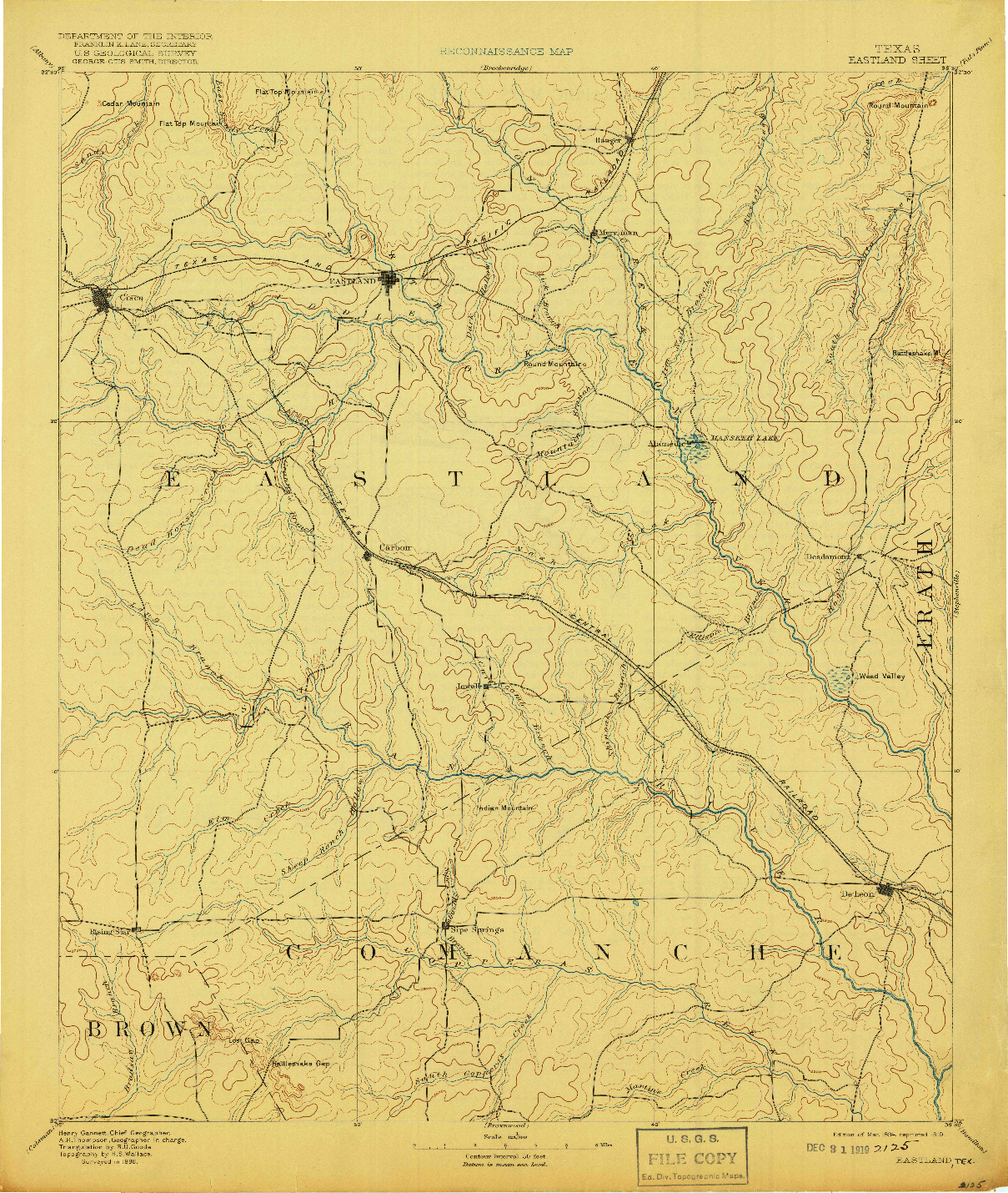 USGS 1:125000-SCALE QUADRANGLE FOR EASTLAND, TX 1894