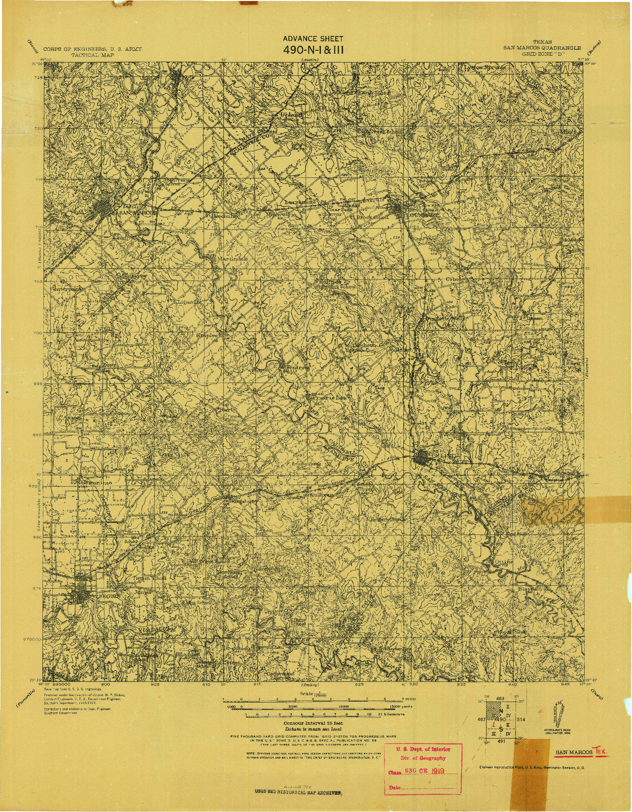 USGS 1:125000-SCALE QUADRANGLE FOR SAN MARCOS, TX 1919