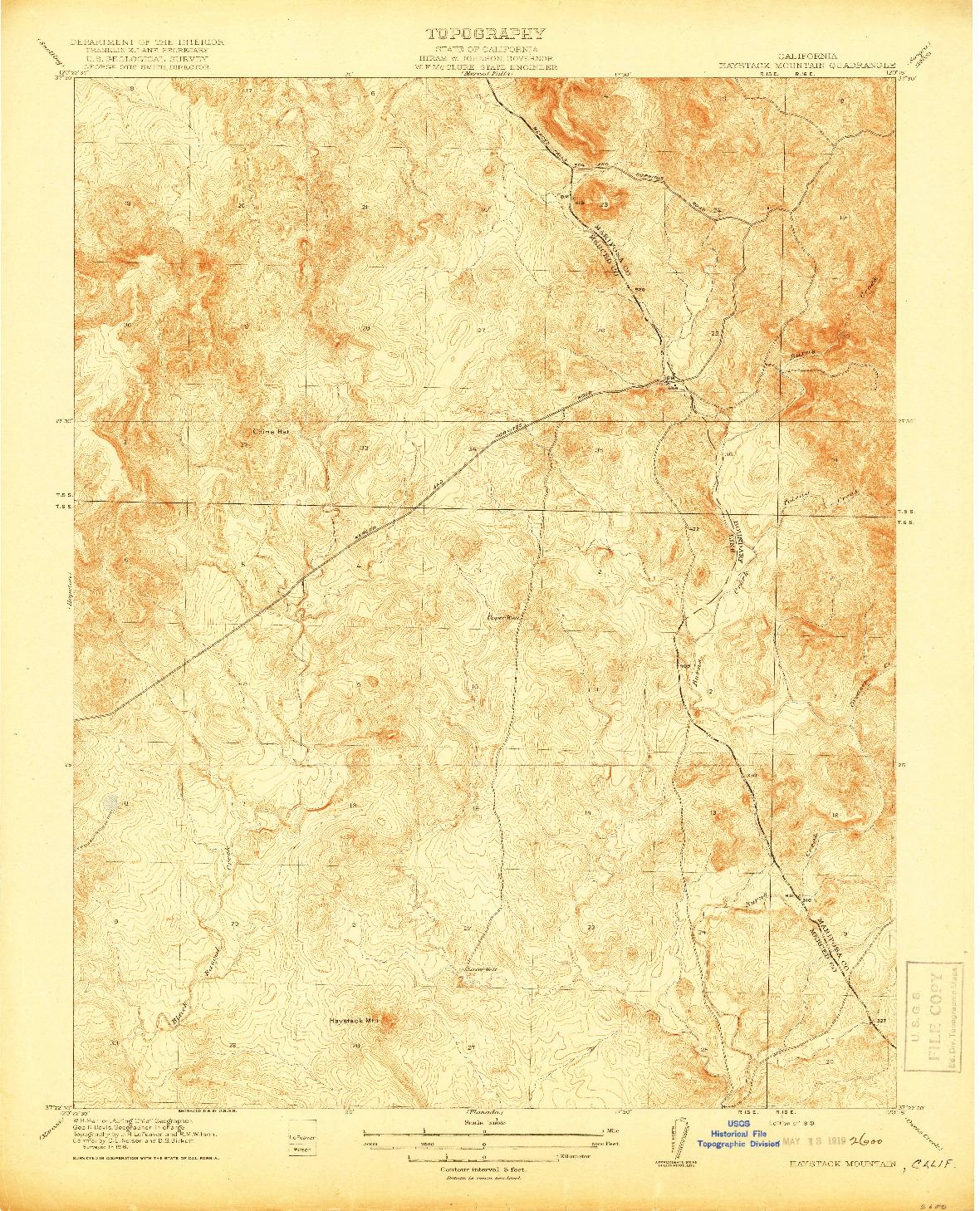 USGS 1:31680-SCALE QUADRANGLE FOR HAYSTACK MOUNTAIN, CA 1919