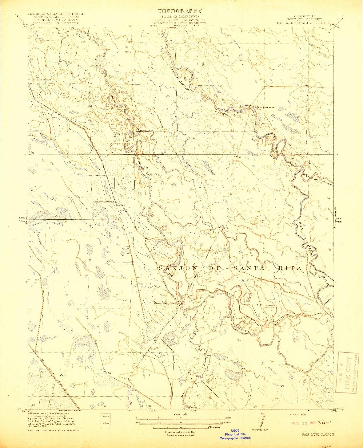 USGS 1:31680-SCALE QUADRANGLE FOR SAN LUIS RANCH, CA 1919