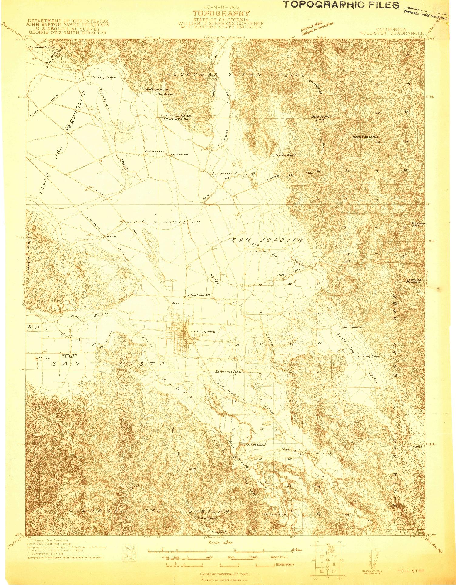 USGS 1:48000-SCALE QUADRANGLE FOR HOLLISTER, CA 1919