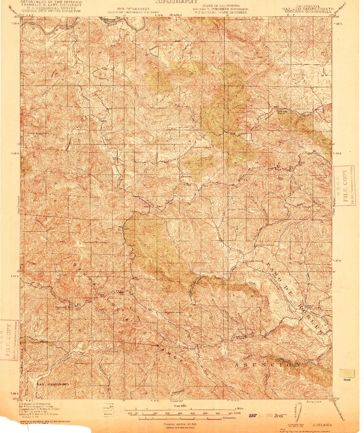 USGS 1:62500-SCALE QUADRANGLE FOR ADELAIDA, CA 1919