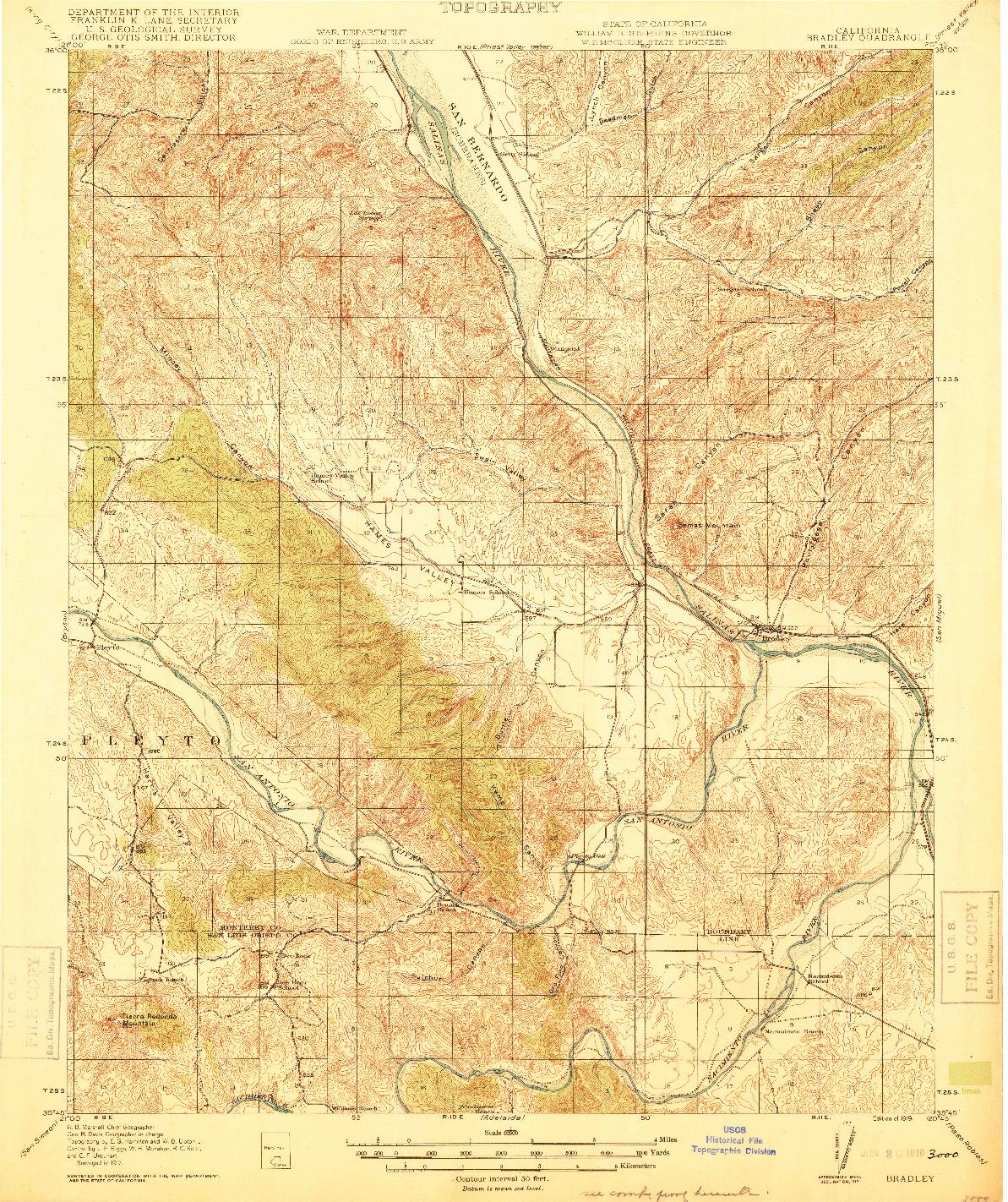USGS 1:62500-SCALE QUADRANGLE FOR BRADLEY, CA 1919