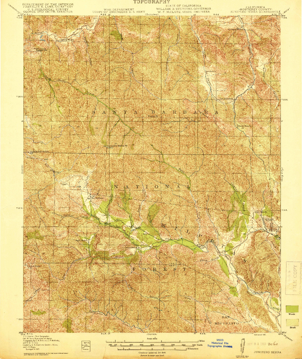 USGS 1:62500-SCALE QUADRANGLE FOR JUNIPERO SERRA, CA 1919