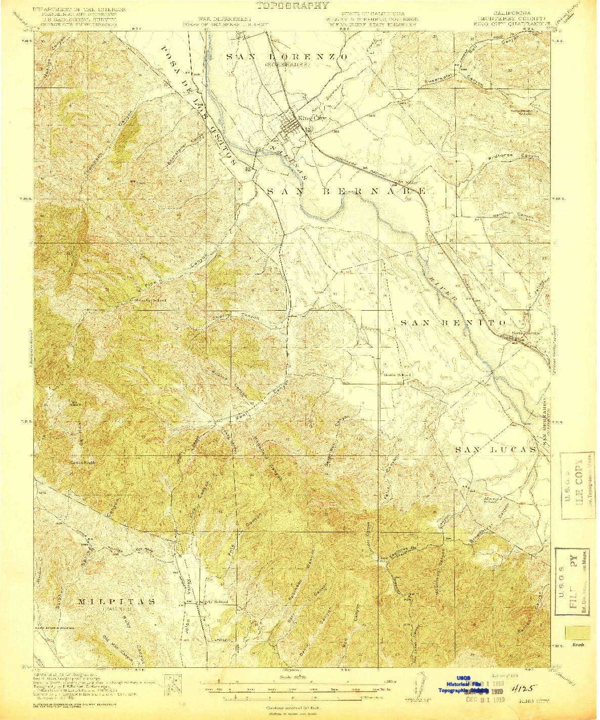 USGS 1:62500-SCALE QUADRANGLE FOR KING CITY, CA 1919