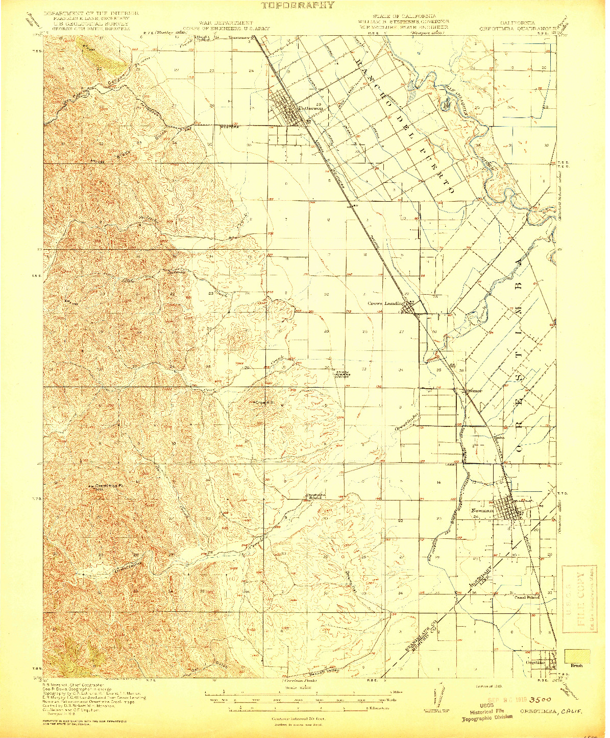 USGS 1:62500-SCALE QUADRANGLE FOR ORESTIMBA, CA 1919