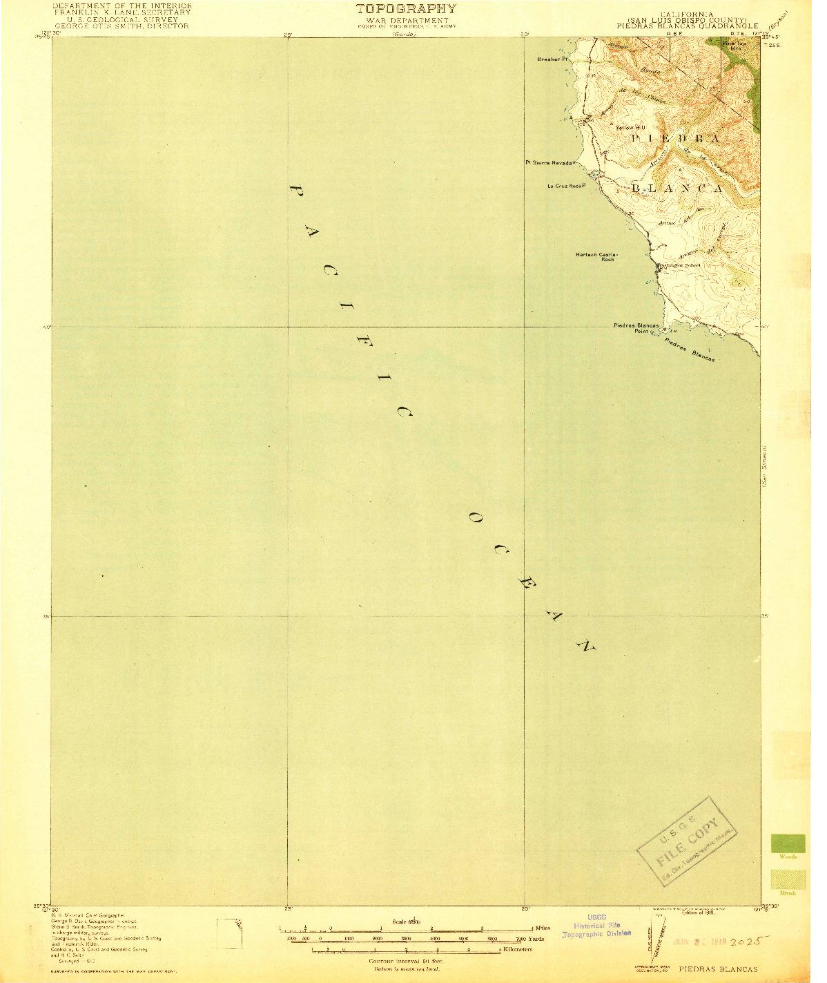 USGS 1:62500-SCALE QUADRANGLE FOR PIEDRAS BLANCAS, CA 1919