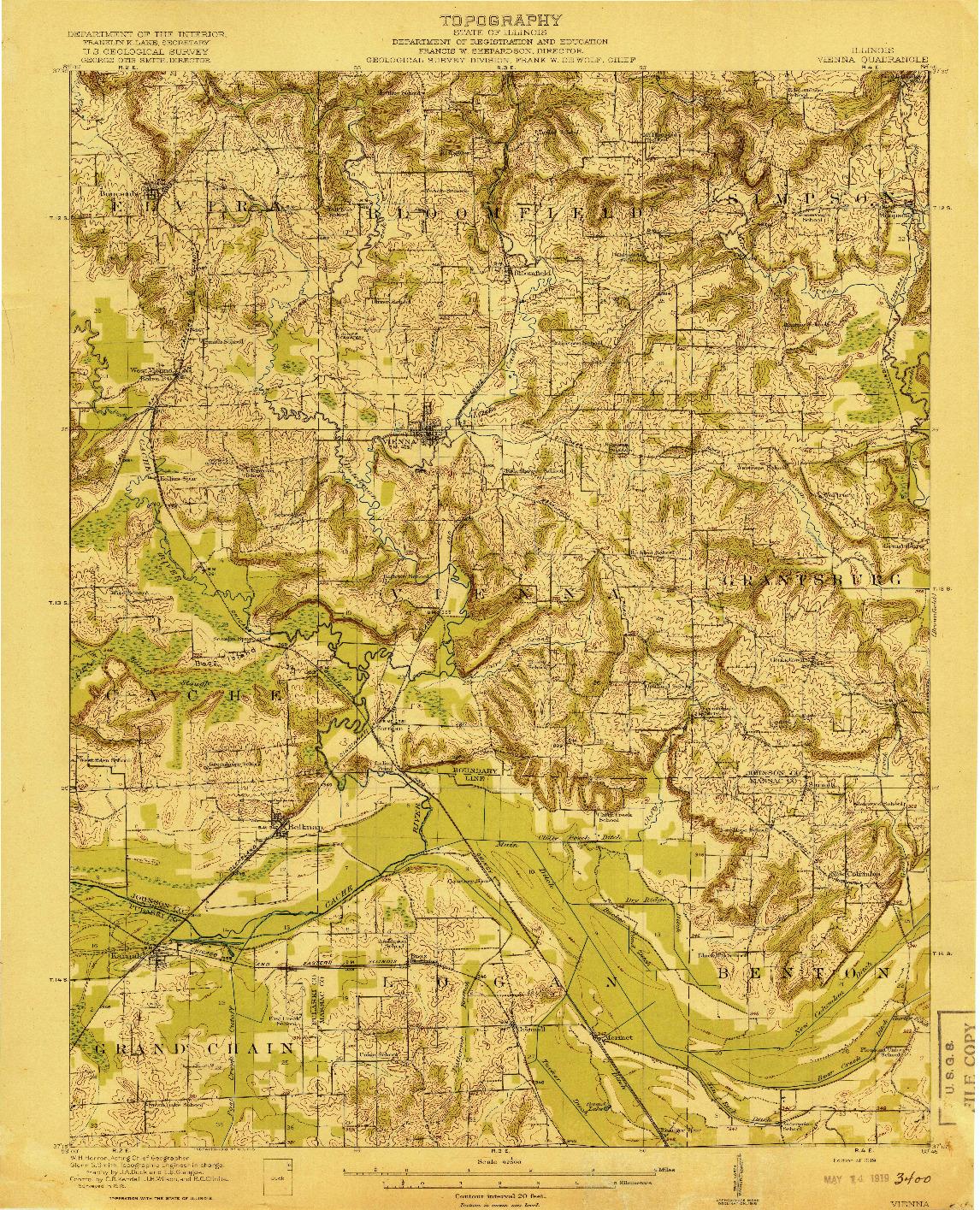 USGS 1:62500-SCALE QUADRANGLE FOR VIENNA, IL 1919