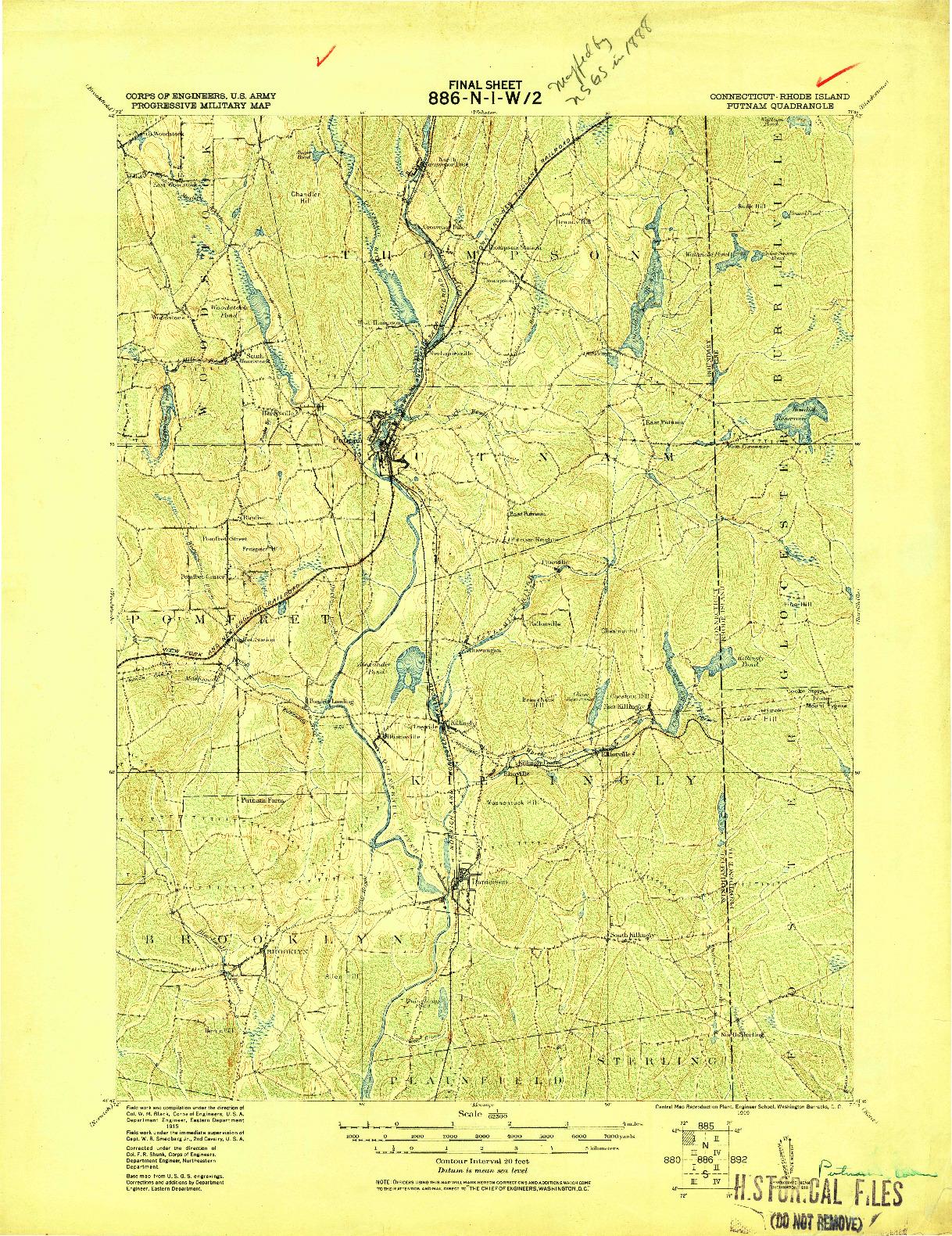 USGS 1:62500-SCALE QUADRANGLE FOR PUTNAM, CT 1919