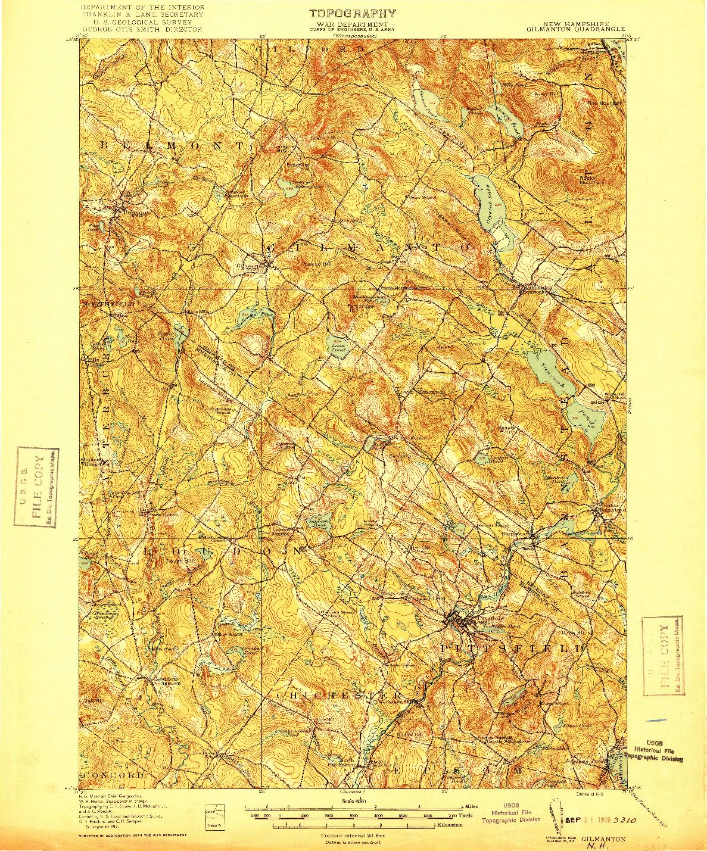 USGS 1:62500-SCALE QUADRANGLE FOR GILMANTON, NH 1919