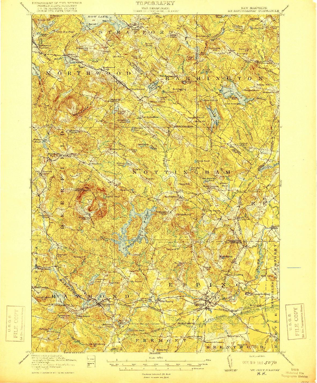 USGS 1:62500-SCALE QUADRANGLE FOR MT. PAWTUCKAWAY, NH 1919