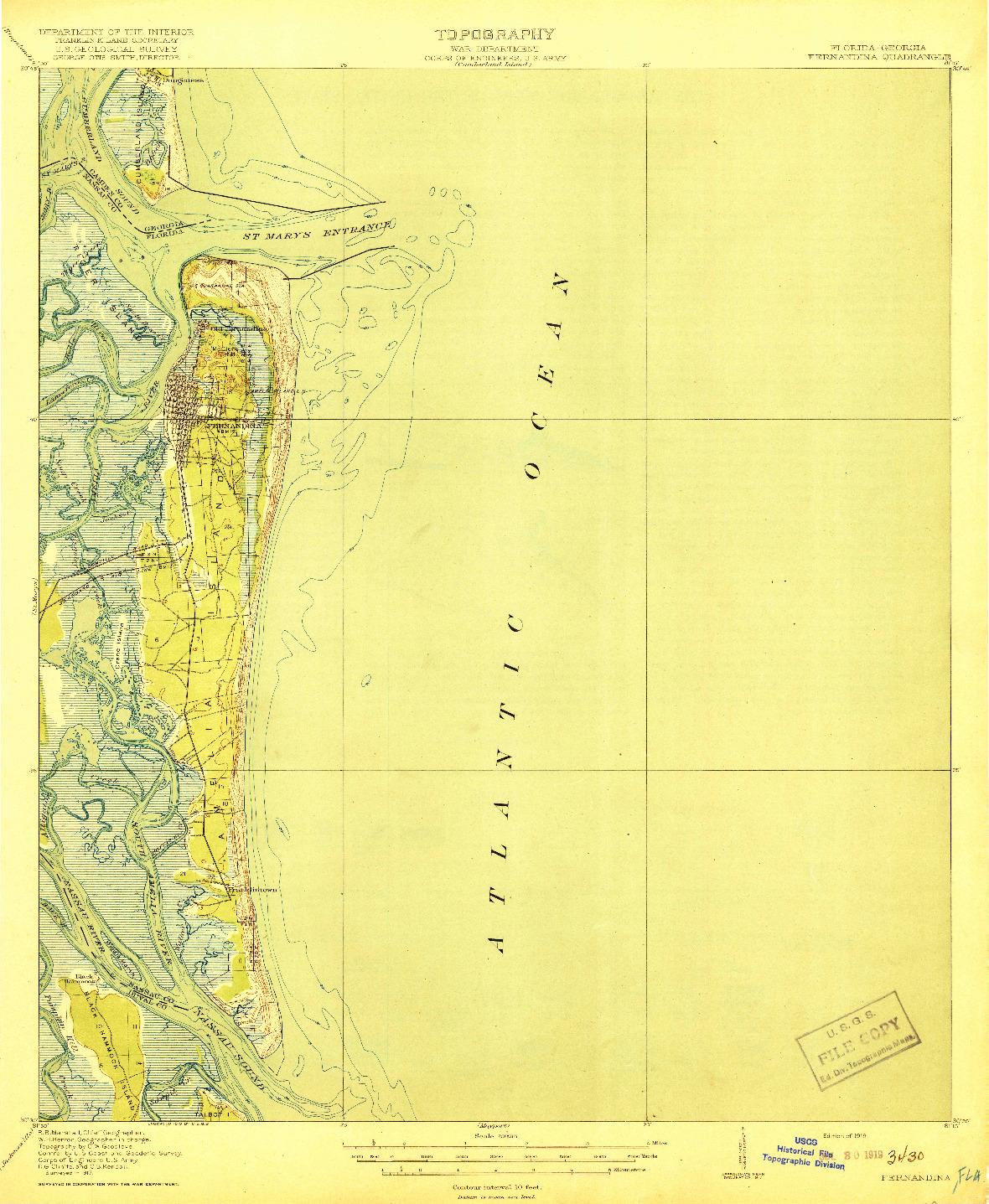 USGS 1:62500-SCALE QUADRANGLE FOR FERNANDINA, FL 1919