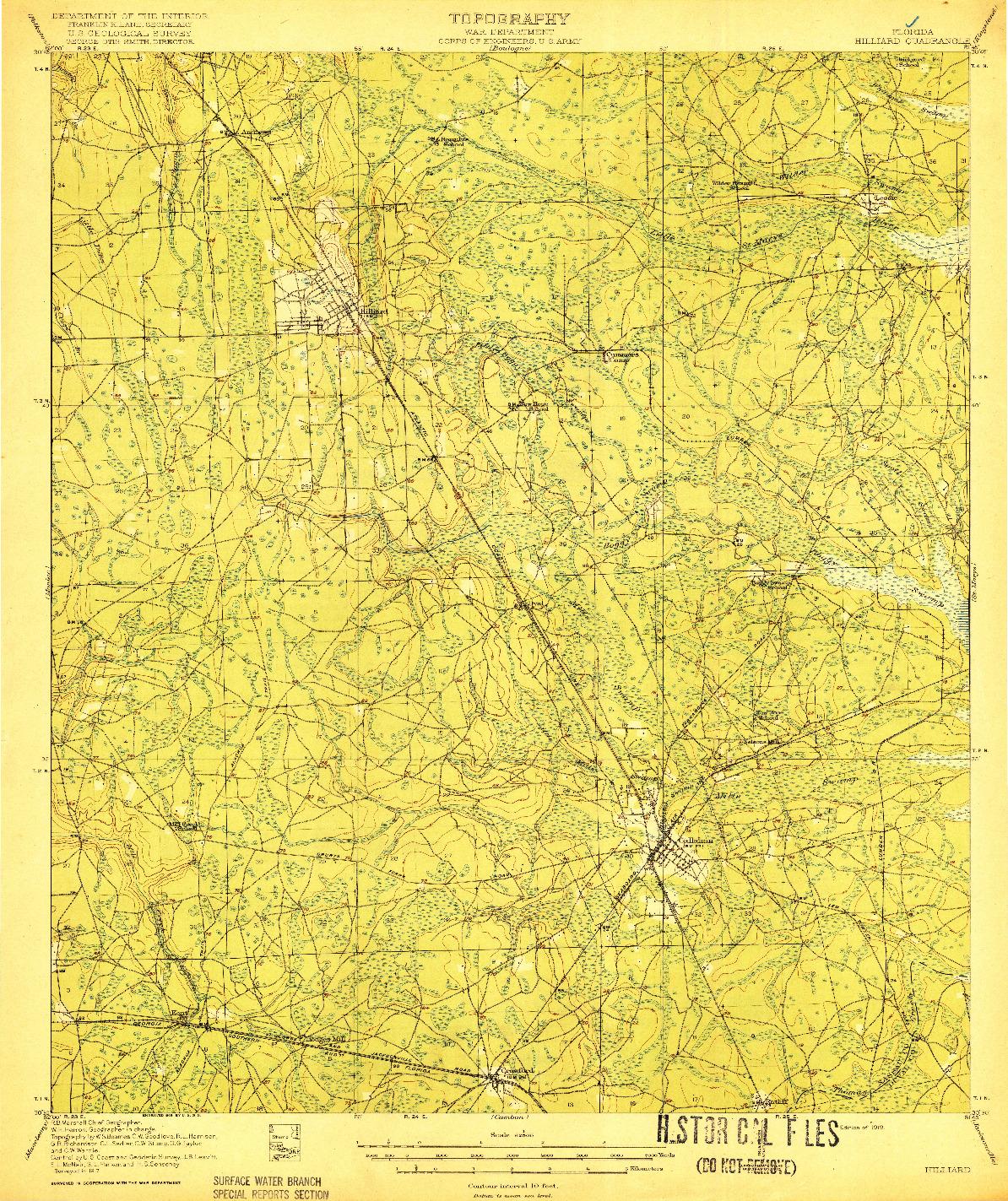 USGS 1:62500-SCALE QUADRANGLE FOR HILLIARD, FL 1919