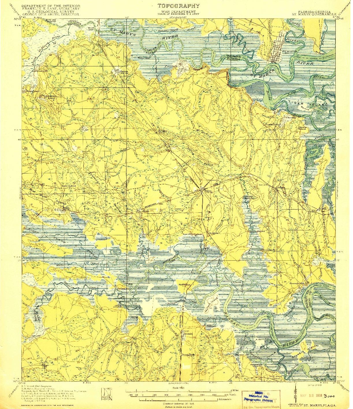 USGS 1:62500-SCALE QUADRANGLE FOR ST MARYS, FL 1919
