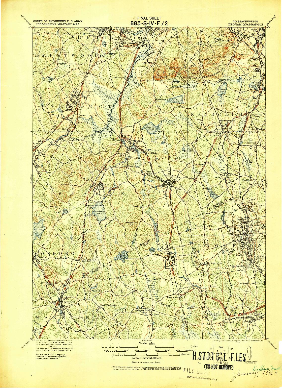 USGS 1:62500-SCALE QUADRANGLE FOR DEDHAM, MA 1919