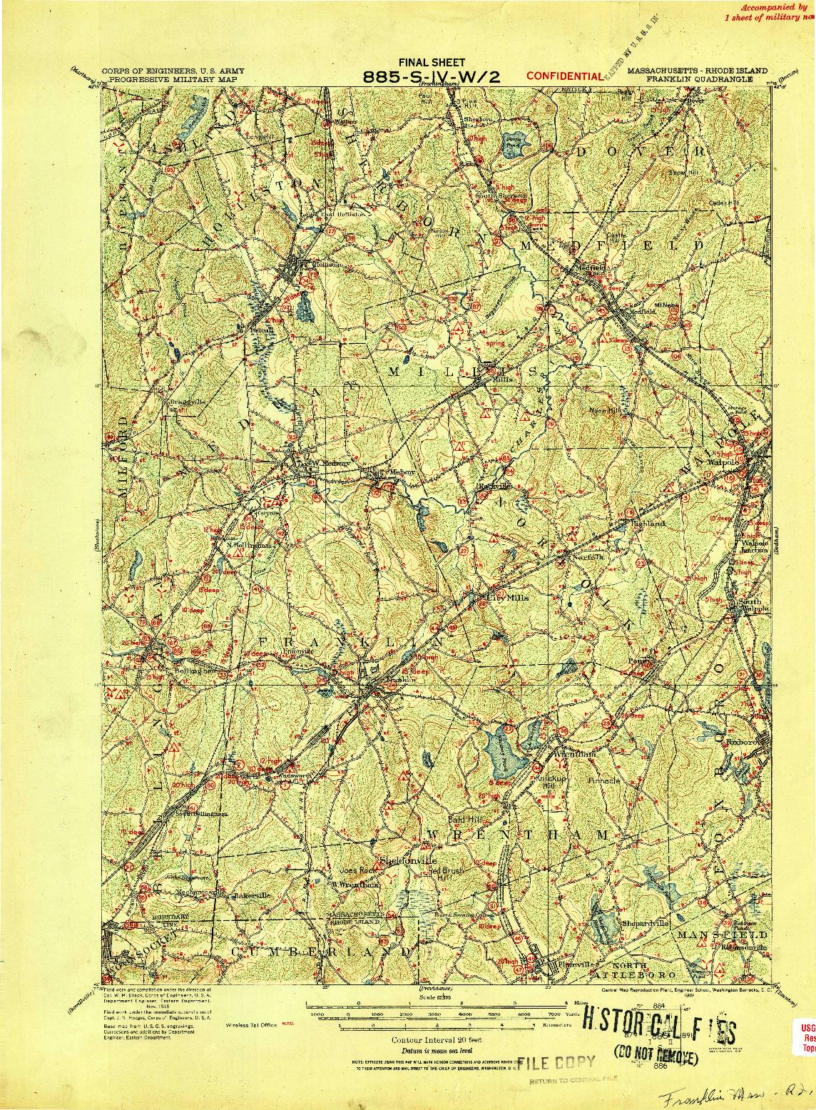 USGS 1:62500-SCALE QUADRANGLE FOR FRANKLIN, MA 1919