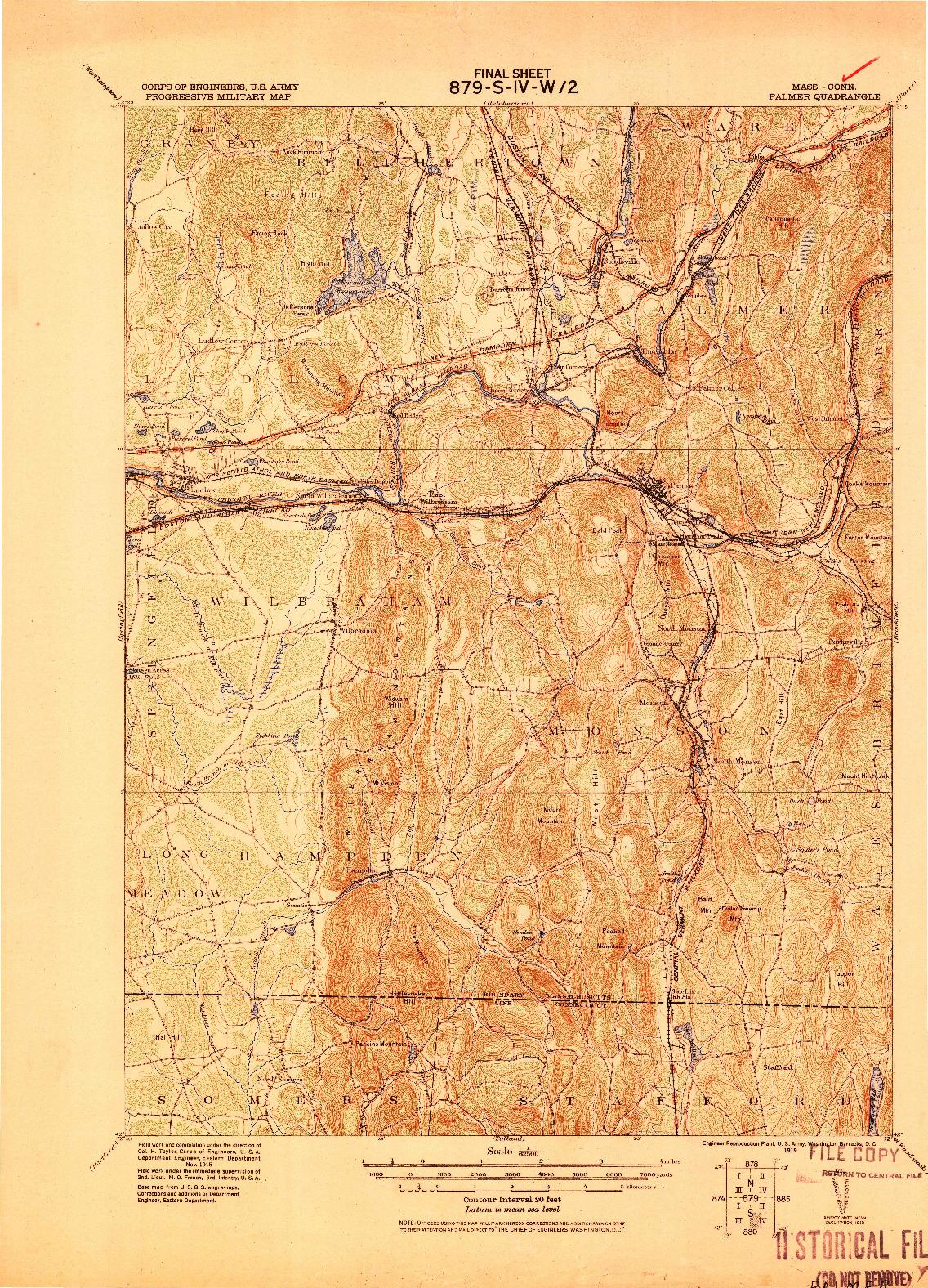USGS 1:62500-SCALE QUADRANGLE FOR PALMER, MA 1919